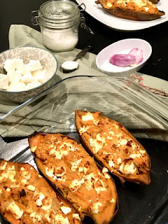 image Patate douce farcie au thon et creamcheese et feta