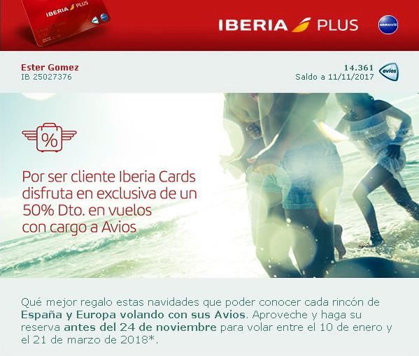101cdd42d me gusta ahorrar  50% dto con cargo a Avios en IBERIA