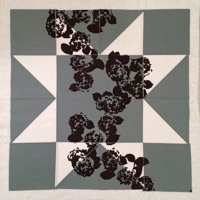 Floral Printed Grey and White Morning Star Modern Quilt | Lovely and Enough