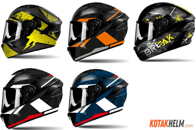 Beberapa varian warna helm Aimit