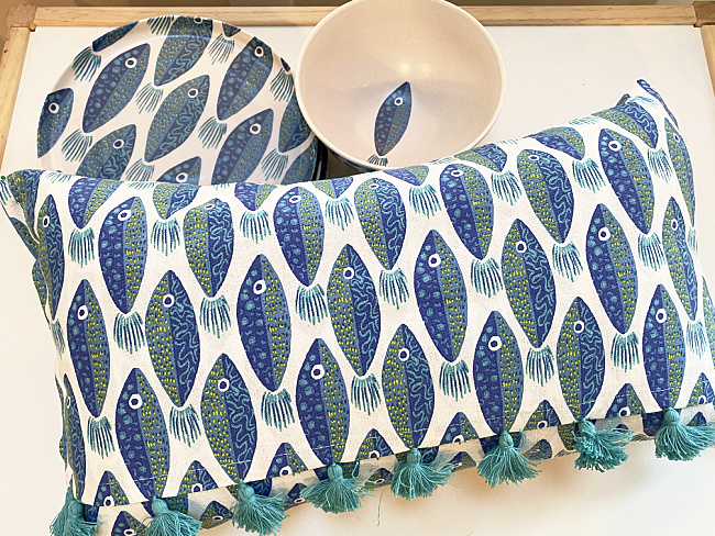 fish pillow with matching dishes