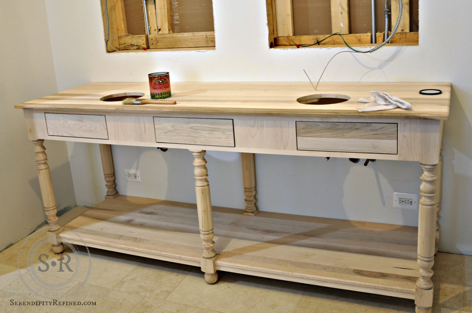 Serendipity refined blog diy painted reproduction french drapers i fell in love with the idea of repurposing a table as a master bathroom vanity when i saw the gorgeous table that brooke giannetti used in her bathroom at geotapseo Image collections