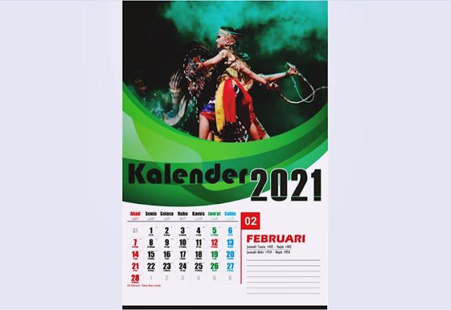 Kalender dinding 2021 Februari