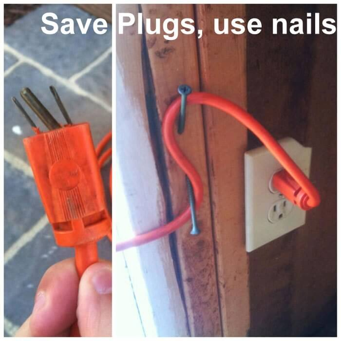Using nails to save plugs