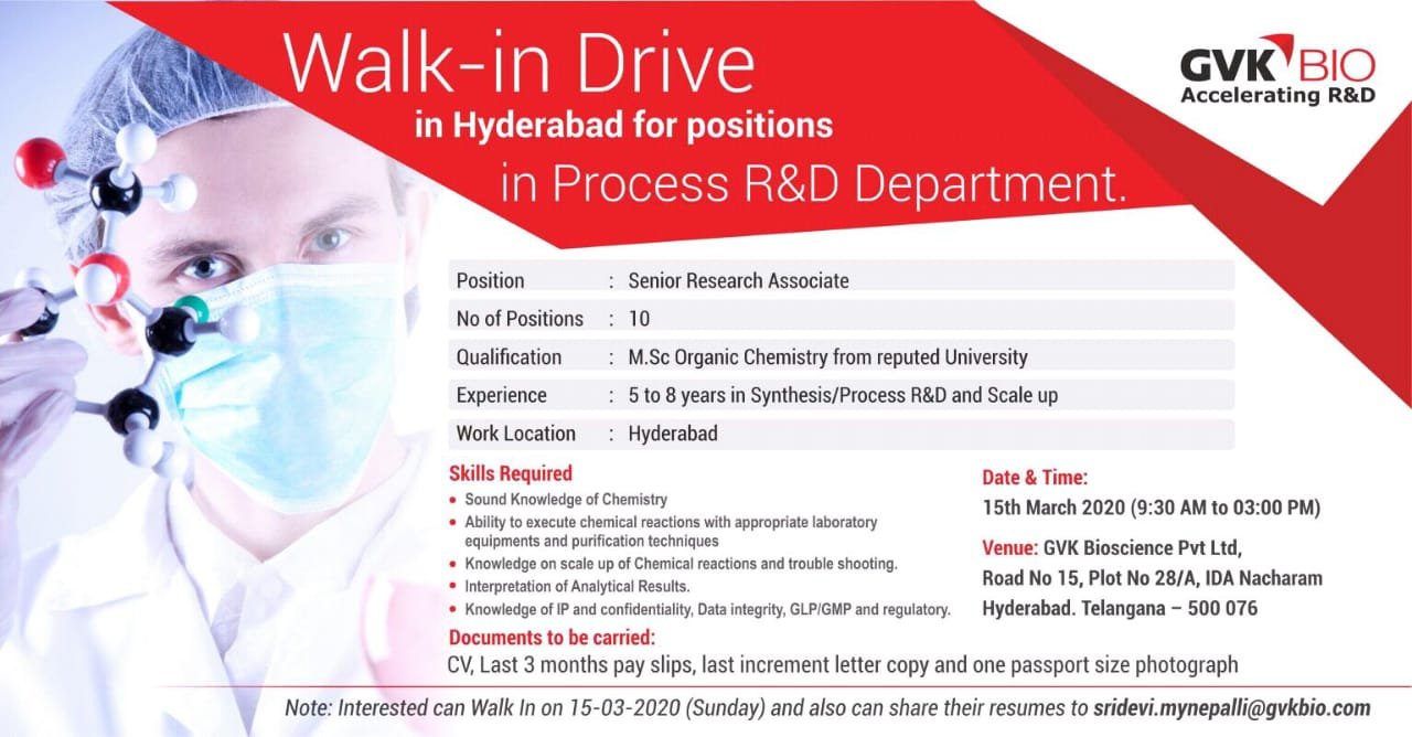 GVK BIO - Walk-In Drive for Multiple Positions - Production | Process R&D on 14th & 15th Mar' 2020