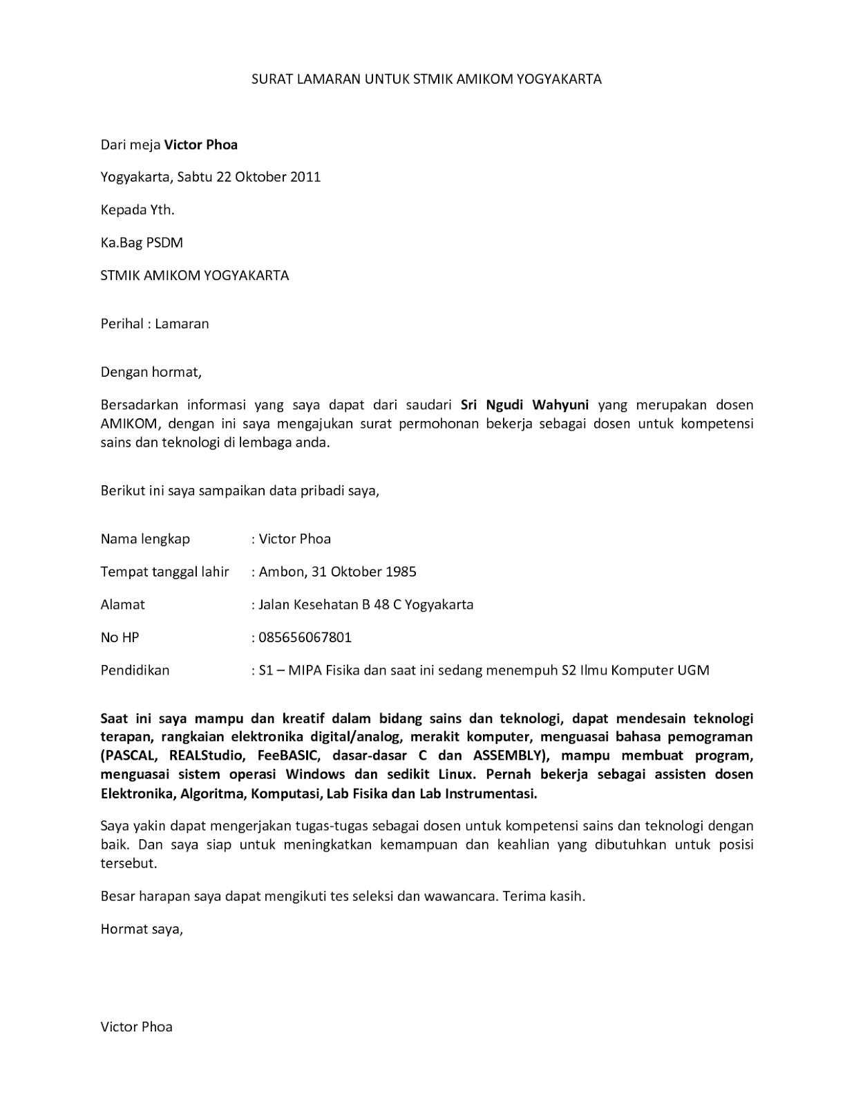 Contoh Surat Lamaran Kerja Dosen Surat Lamaran Kerja