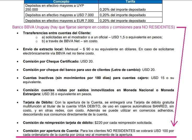 comisiones abrir cuenta en uruguay desde argentina 2020