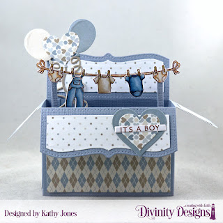 Stamp/Die Duos: Bless This Baby, Baby Clothesline, Custom Dies: Surprise Box Wide, Balloons & Streamers, Layering Hearts, Sentiment Strips, Paper Collections: Baby Boy