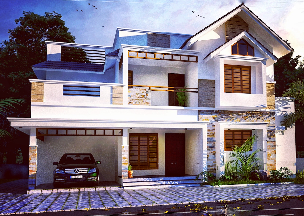 Indian Home design 2000 sq ft 4 bed room residence plan idea