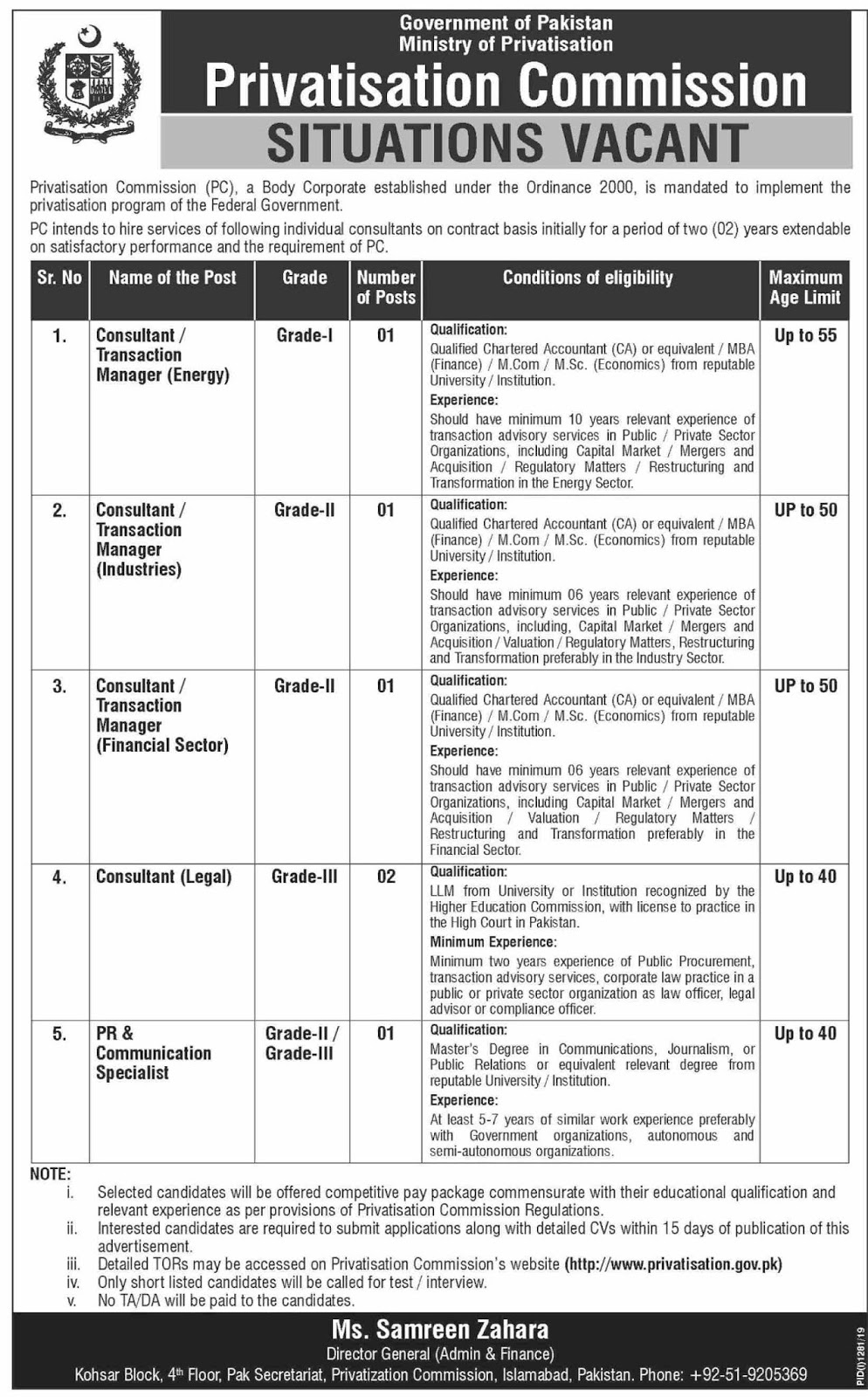Advertisement for Privatisation Commission (PC) Jobs September 2019