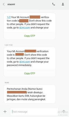 sms verifikasi konfirmasi unlock micloud xiaomi