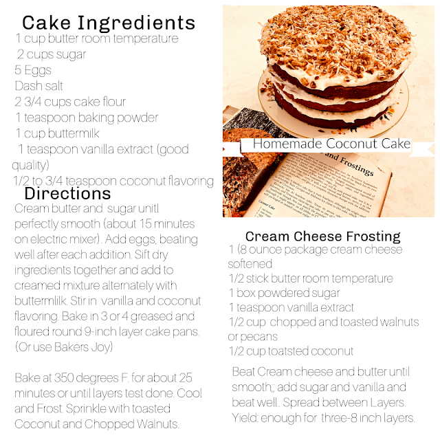 Recipe For Homemade Coconut Cake With Coconut and Walnut Cream Cheese Frosting