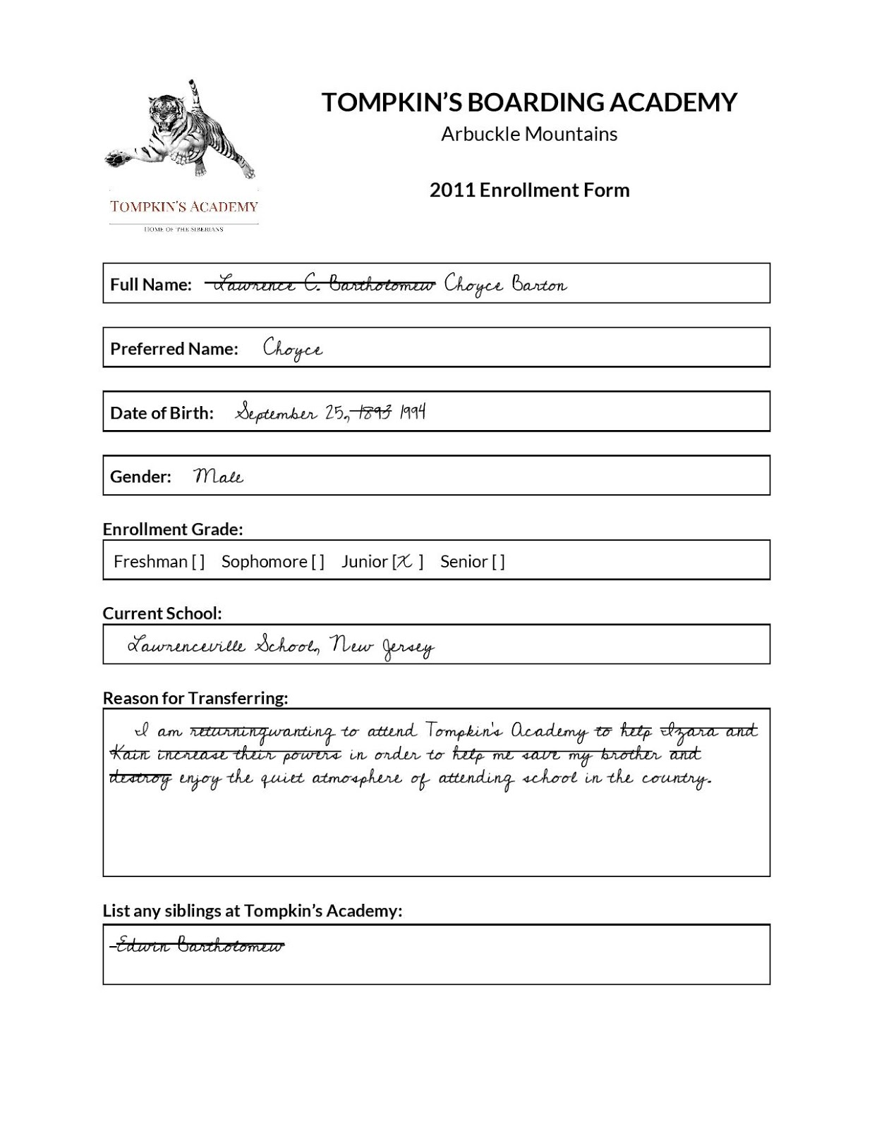 Choyce\'s Enrollment Form (Book Character Close-Up Entry 5)