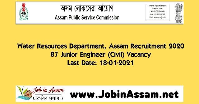 Water Resources Department, Assam Recruitment 2020- 87 Junior Engineer (Civil) Vacancy- Last Date: 18-01-2021