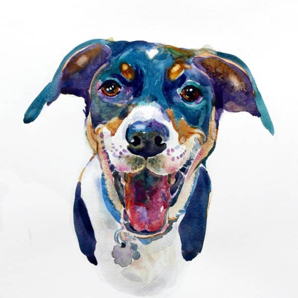 painted portrait of dog's face and chest