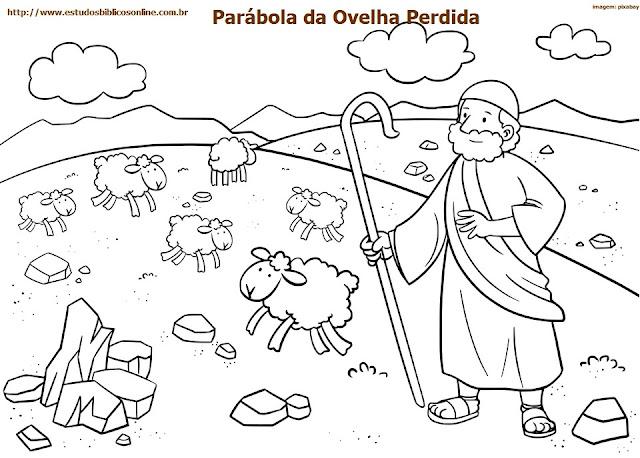 Atividade bíblica infantil para imprimir: Parábola da Ovelha Perdida