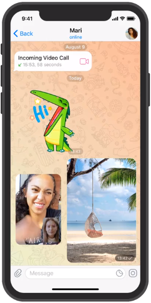 Mode Picture in Picture Video Call Telegram