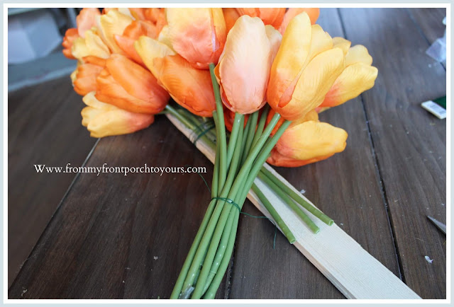 DIY-Carrot Tulip Wreath-Tulip Bundles-Orange-Tutorial-Home Decor-Spring-Easter-From My Front Porch To Yours