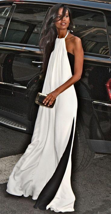 Maxi dress Maxi vestido branco e preto street style fashion street