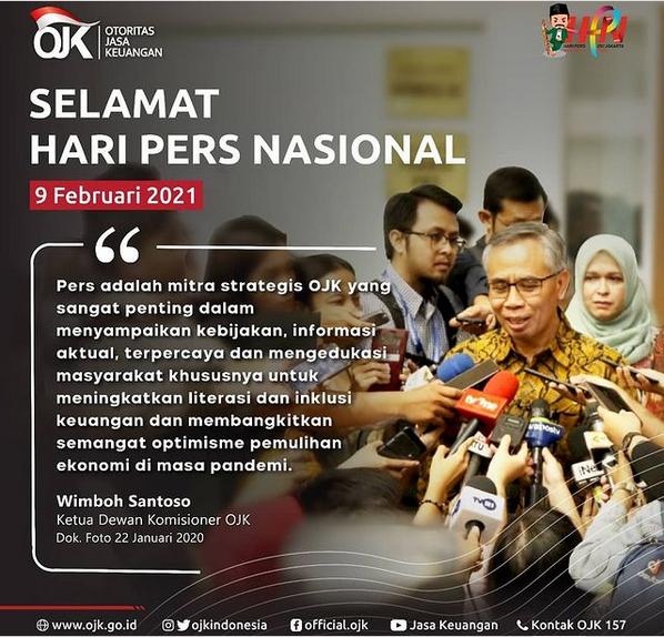 """OJK Dalam Akun Instagramnya, Mengucapkan """"Selamat Hari Pers Nasional"""""""