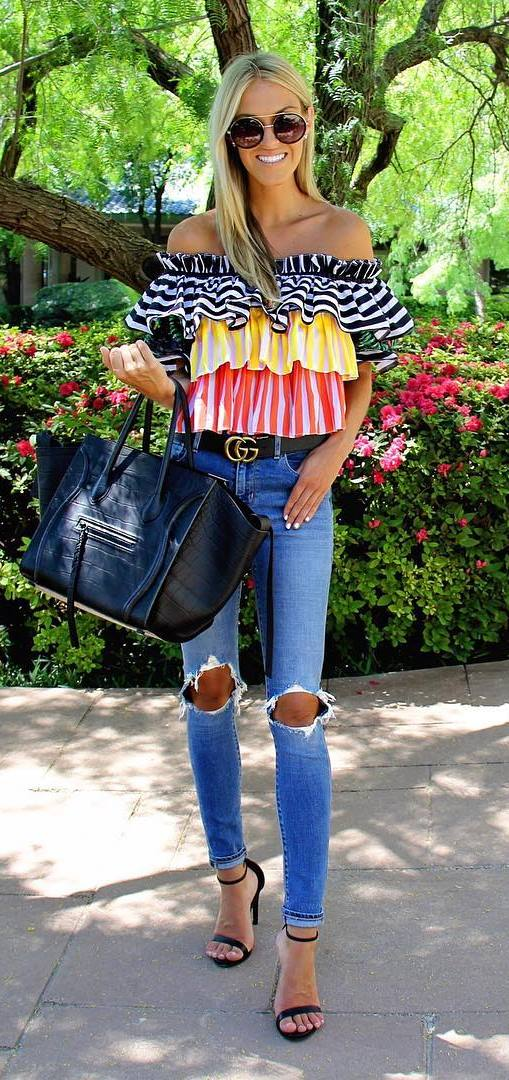 summer fashion trends: top + heels + rips + bag