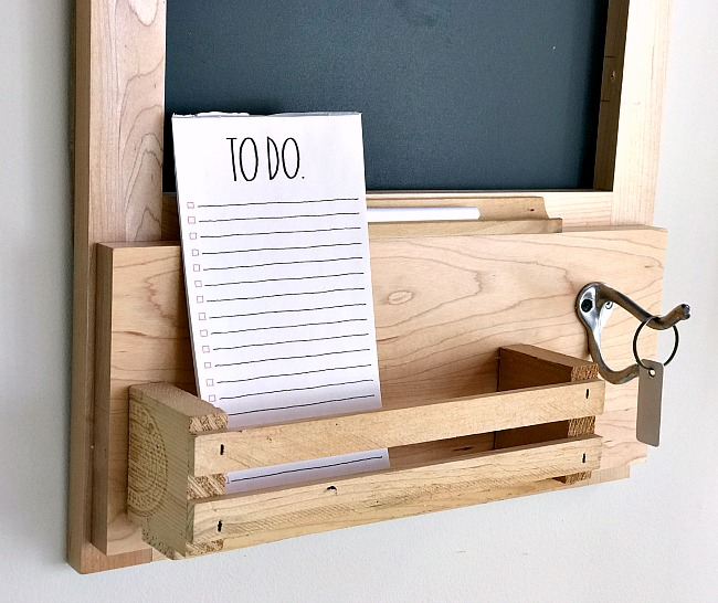Blonde wood chalkboard and basket with hook for keys