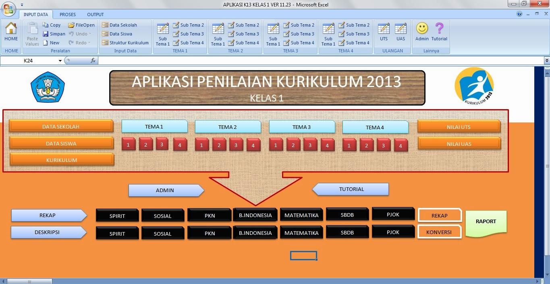 Download Aplikasi Penilaian dan Raport Kurikulum 2013 Kelas 1 SD