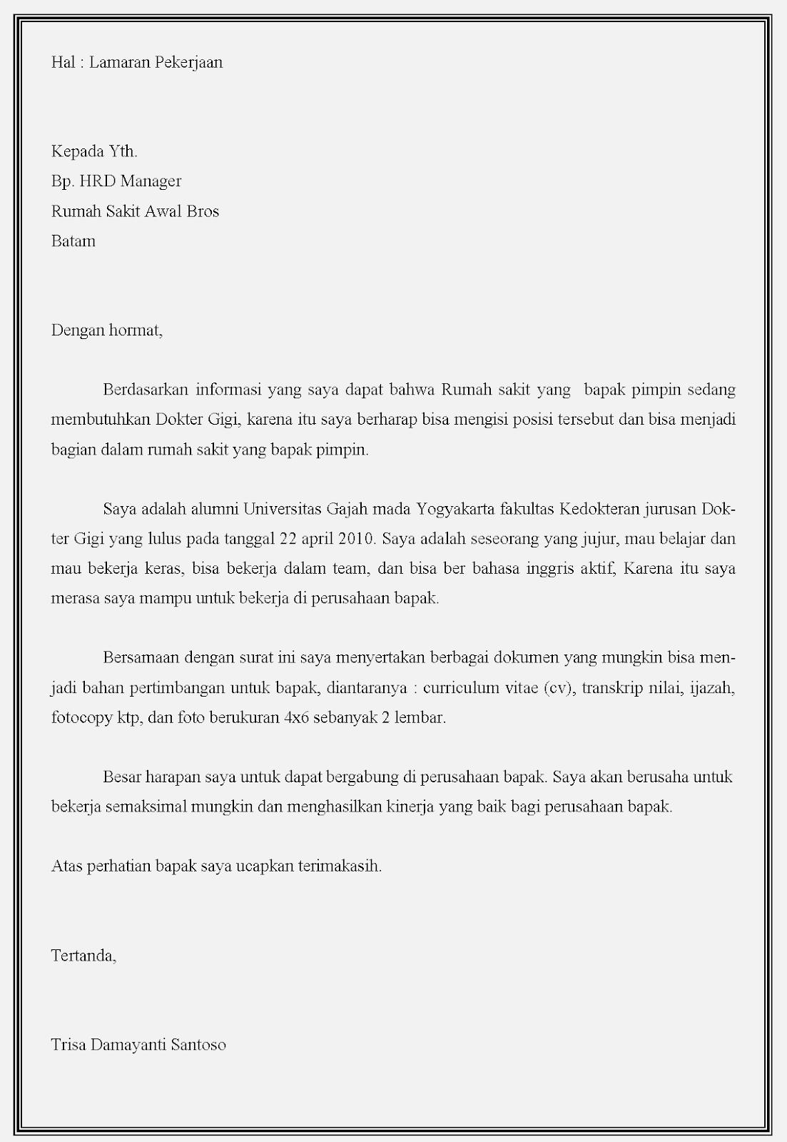 15 Contoh Surat Lamaran Kerja Dokter Terbaik Contoh Surat