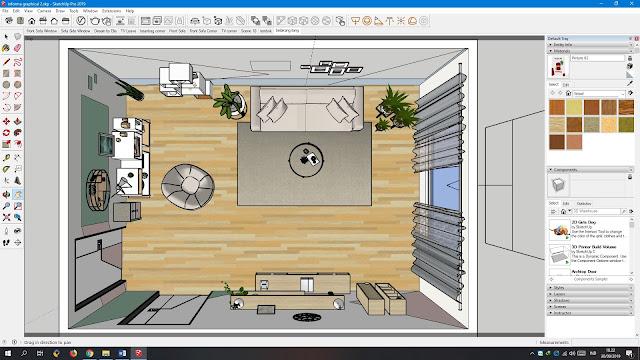 Desain ruang tamu Graphical Pop nampak atas