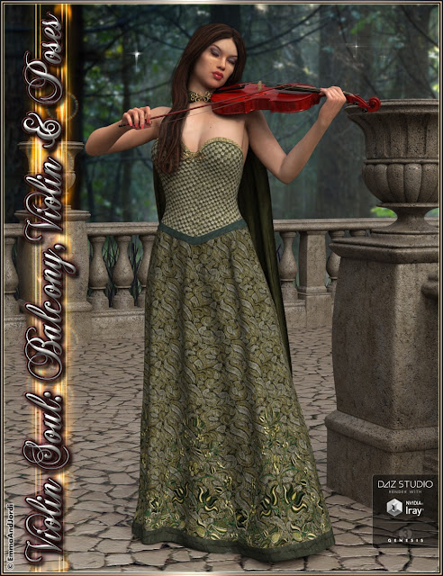Violin Soul: Balcony, Violin And Poses for Genesis 3 Female