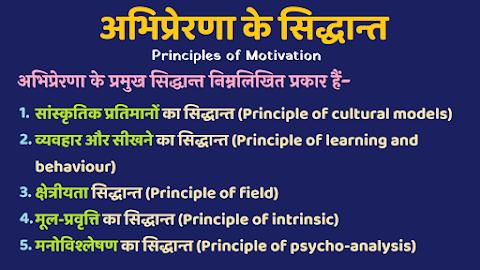 अभिप्रेरणा के सिद्धान्त - Principles of Motivation