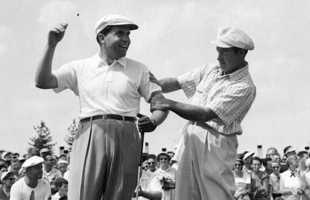 Richard Nixon and Bob Hope at the Hope PGA Tour golf tournament