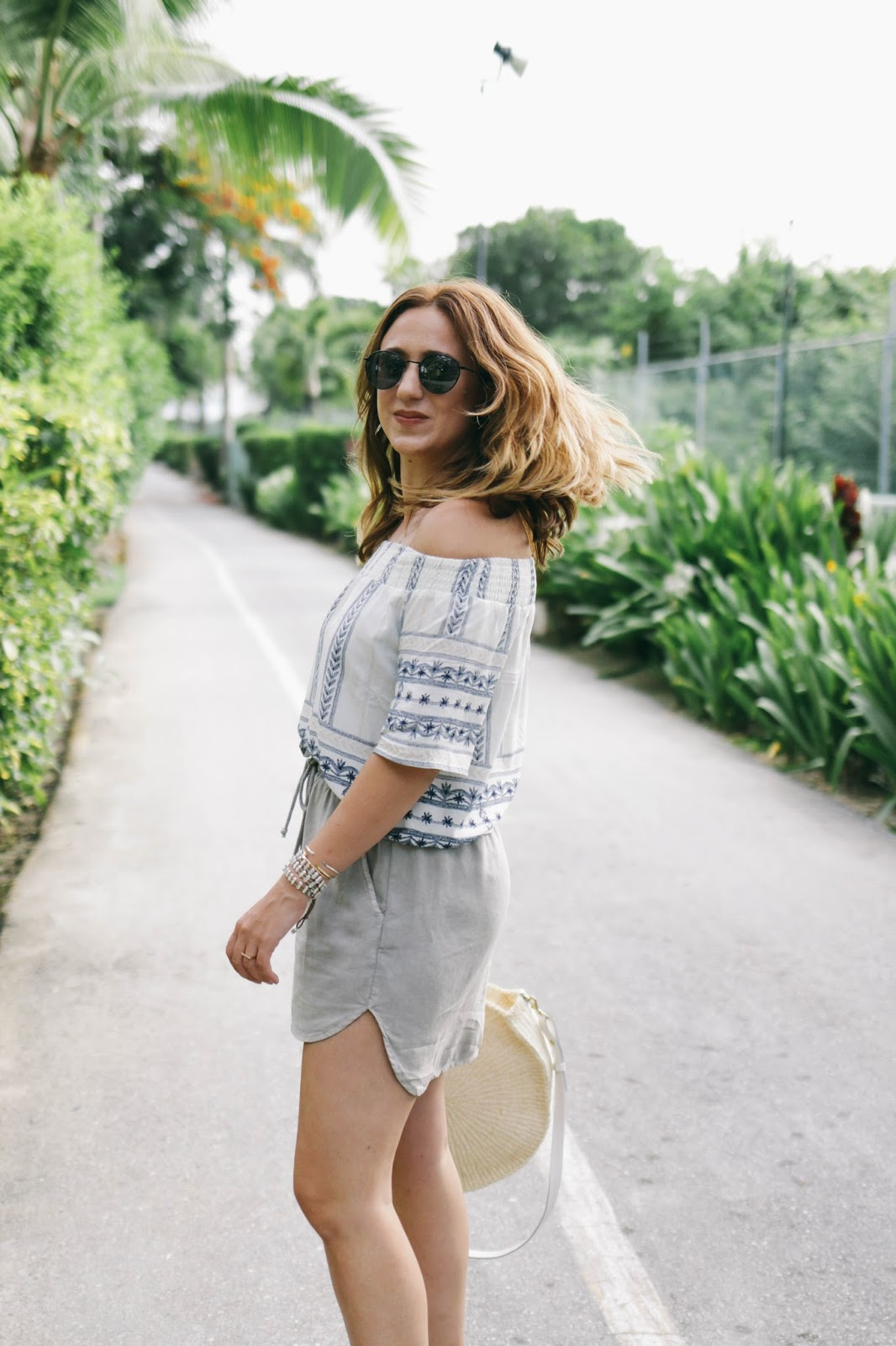 south moon under, outfit, travel style, travel outfit, punta cana, dominican republic, travel blogger, dreams resort, review, off the shoulder, lace up sandals, clare V bag, dc blog, blogger, style blog, fashion blog, inspo