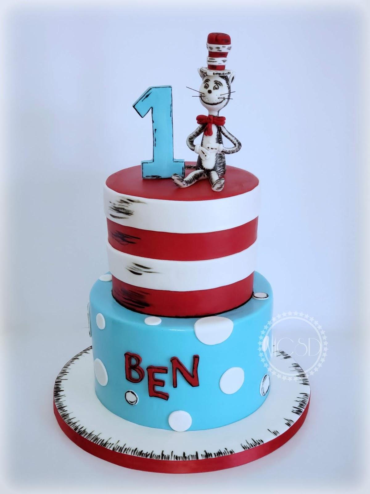Remarkable Cakesbyzana Cat In The Hat Dr Seuss 1St Birthday Cake Funny Birthday Cards Online Elaedamsfinfo