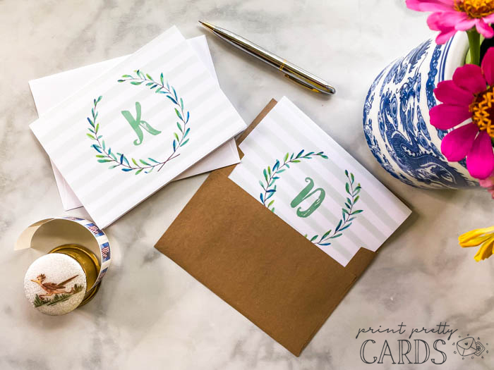 Watercolor Monogrammed Note Cards