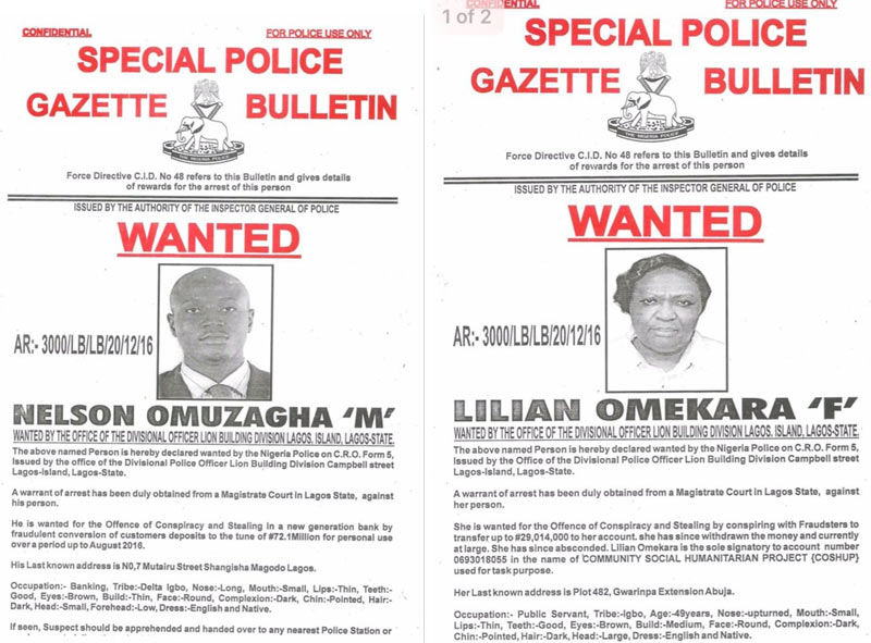 Man and woman declared wanted over missing 100 million naira