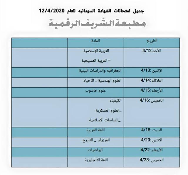 جدول إمتحانات الشهادة السودانية 12/4/2020 كامل للطباعة