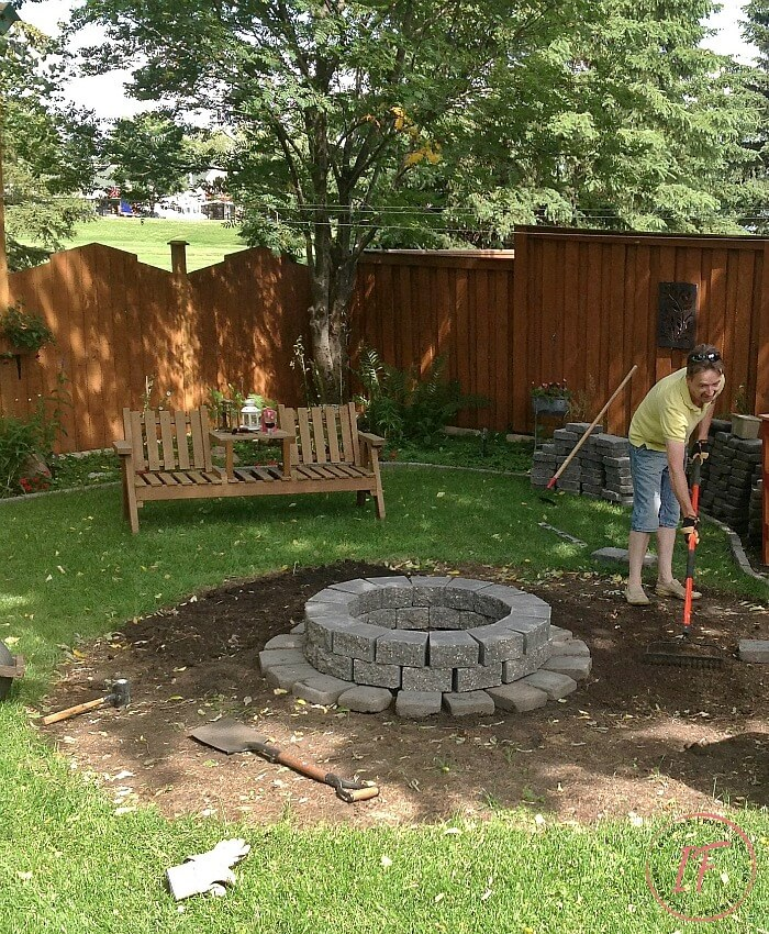 Levelling Dirt DIY Fire Pit Surround