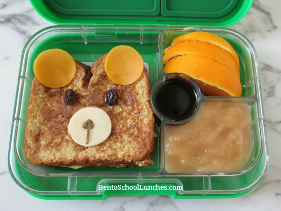 French toast breakfast for lunch, bear themed.