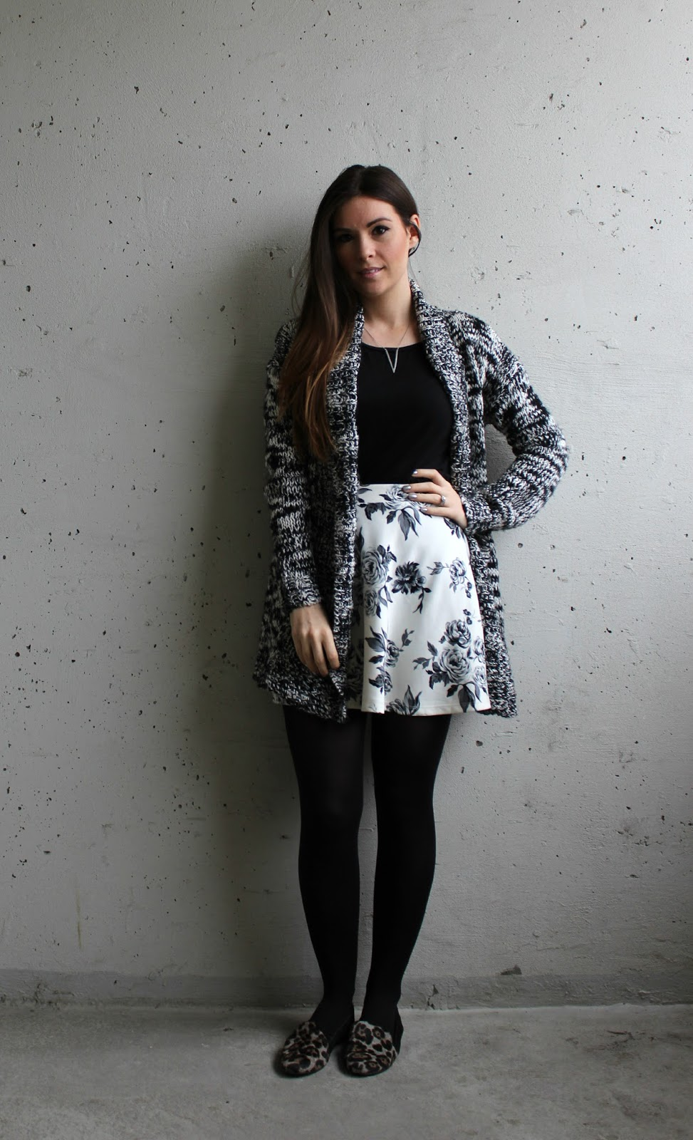 salt and pepper cardigan and floral skirt