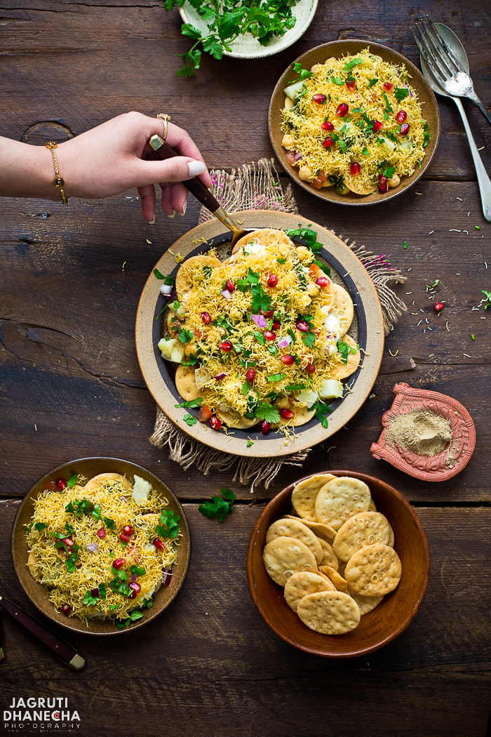 chaat is a combination of complementing and contrasting textures and flavours. Papdi chaat is crunchy, spicy, tangy and sweet and can be eaten as an evening snack or as a great alternative to a meal.