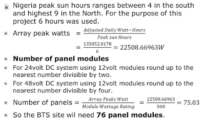 Solar Power Sizing calculations for BTS site