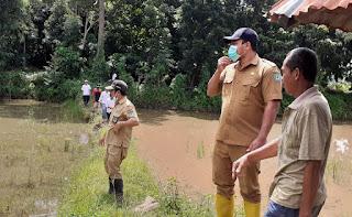 Kabid SDA Dinas PUPR Tinjau Lokasi Tanggul Jebol di Jatiwangi