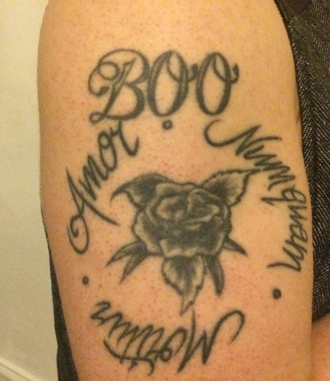5c02b1e0606f6 The tattoos on my arm are a mishmash of time, places, and people I love.  The BOO at the top was my first tattoo. Boo is the nickname for my Jack  Russell, ...
