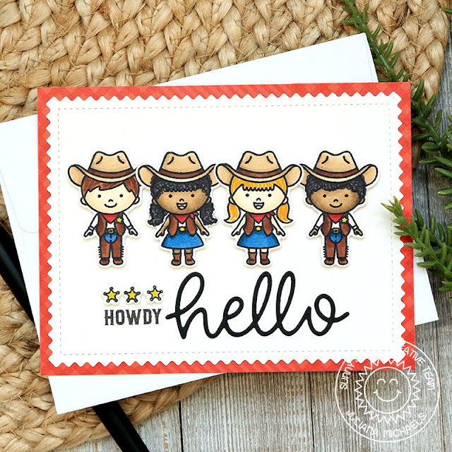 Sunny Studio Stamps: Little Buckaroo Hello Word Die Frilly Frame Dies Fall Themed Card by Juliana Michaels