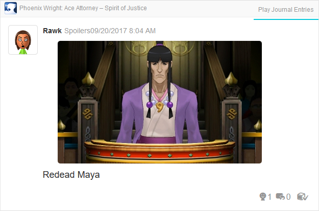 Phoenix Wright Ace Attorney Spirit of Justice Maya channeling Tahrust Inmee