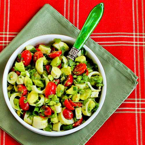 Heart of Palm Salad with Tomato, Avocado, and Lime (with or without Cilantro) found on KalynsKitchen.com