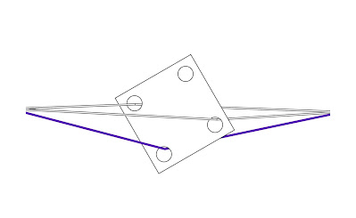 A diagram representing a square weaving tablet with a hole in each corner, carrying a white thread in two of it's holes and a purple thread in another. The purple thread is diagonally opposite from a vacant hole and the tablet is oriented so that the vacant hole sits at the top.