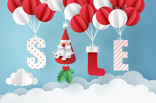 Cute Paper Balloons With Christmas Sale Design Vector Vectorkh