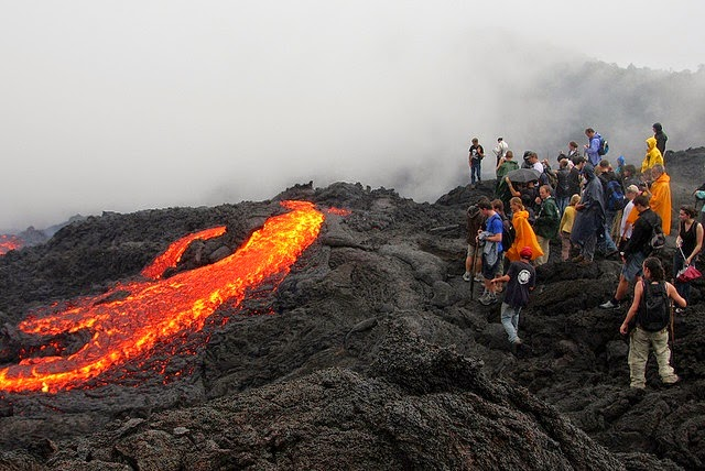 Climbing on Volcan Pacaya, Guatemala